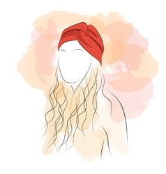 Silhouette woman with hair turban vector