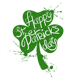 St patricks day typography poster with shamrock vector