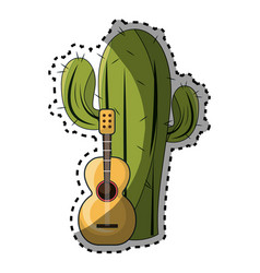 Sticker cactus with thorns and acoustic guitar vector