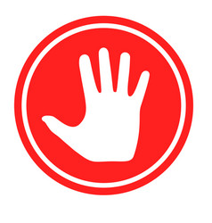 Stop sign with human hand vector