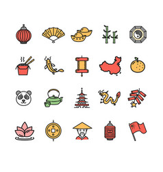 symbol of china color thin line icon set vector image vector image