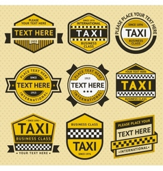 Taxi set insignia vintage style vector