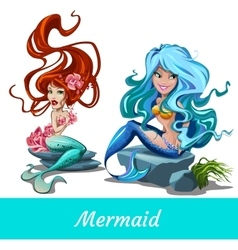 Two cute girls mermaid with blue and red hair vector