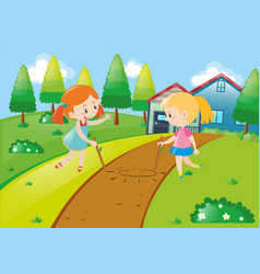 Two girls playing at home vector