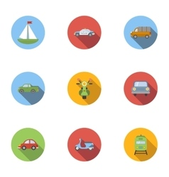 Vehicle icons set flat style vector