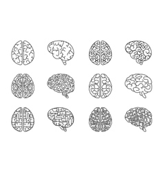 Outline human brain icons vector