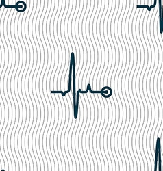 Heartbeat sign seamless pattern with geometric vector