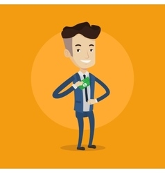 Businessman putting money in pocket vector
