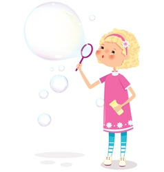 Girl with soap bubbles vector