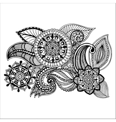 Hand drawn floral zentangle on white background vector