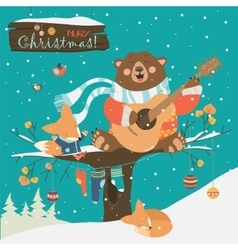 Cute bear and little fox celebrating christmas vector
