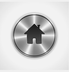 Home button icon metal round vector