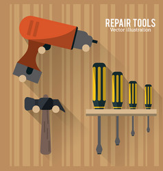 Drill hammer screwdriver tool icon graphic vector