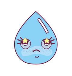 kawaii nice shy drop water vector image