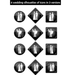 Wedding silhouette set vector
