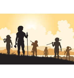 Stoneage hunters vector image
