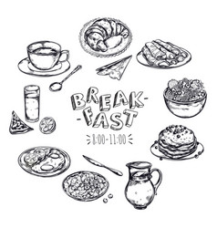 Food breakfast menu flyer vector