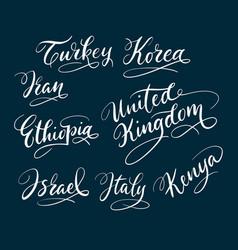 Turkey and korea hand written typography vector