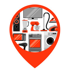 location marker with home appliances household vector image