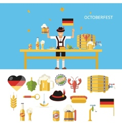 Retro octoberfest symbols beer alcohol accessories vector