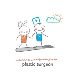 Plastic surgeon with a patient flies on a scalpel vector
