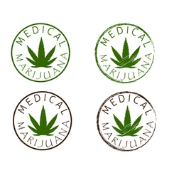 Medical marijuana emblems cannabis leaf silhouette vector