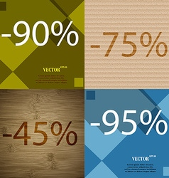 75 45 95 icon set of percent discount on abstract vector