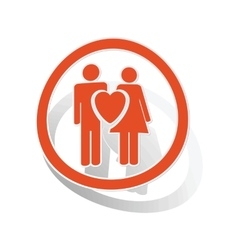 Love couple sign sticker orange vector