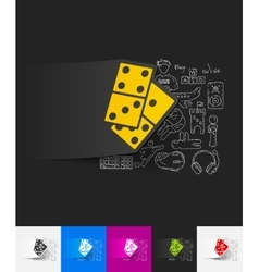Domino paper sticker with hand drawn elements vector