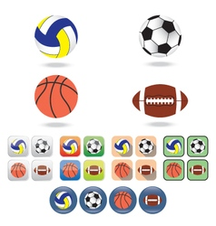 Icons of balls for different sports vector