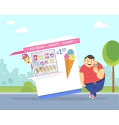 Happy fat man eating ice cream in the park vector