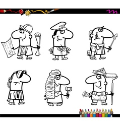 People occupations coloring book vector