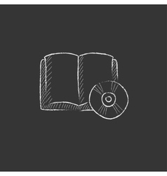 Audiobook and cd disc drawn in chalk icon vector