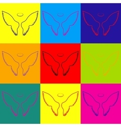 Wings sign pop-art style icons set vector