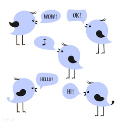 Blue birds with speech bubbles vector