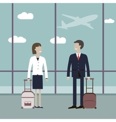 Business Travelers in the Airport vector image