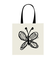 Shopping bag design funny butterfly sketch vector