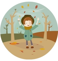 a girl and leaf fall in the circle vector image