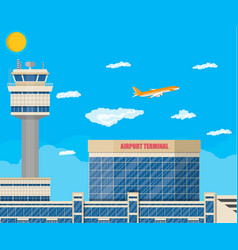 Airport control tower terminal building vector