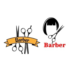 Barber icons and emblems vector image vector image