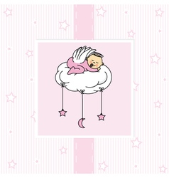 Birth card baby girl vector image vector image