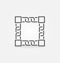 Blockchain outline icon - blocks with chain vector