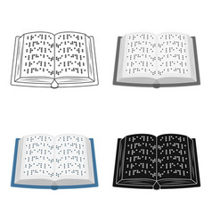 book written in braille icon in cartoon style vector image vector image