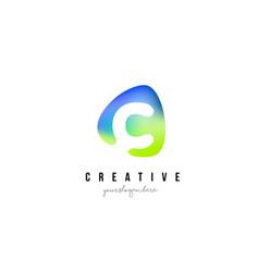 c letter logo design with oval green blue shape vector image vector image