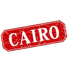 Cairo red square grunge retro style sign vector
