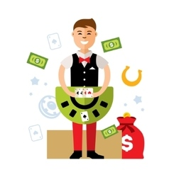 Casino dealer Flat style colorful Cartoon vector image