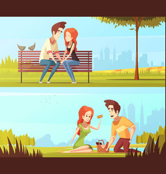 Couple in love horizontal banners vector
