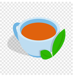 Cup of tea with mint leaf isometric icon vector
