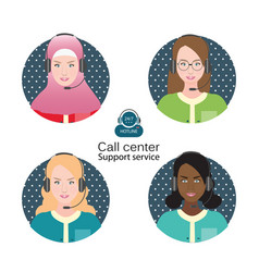 Diverse people of female customer support operator vector