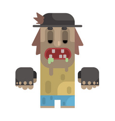 Drooling tramp in stained t-shirt and hat vector